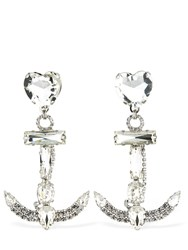Alessandra Rich Anchor Crystal Clip On Earrings Transparent