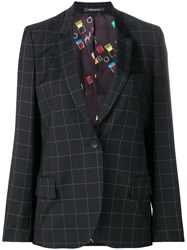 Paul Smith Ps By Grid Print Blazer Black