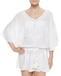 Vix Swimwear Vix Embroidered Sheer Drawstring Tunic Coverup