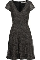 Badgley Mischka Metallic Beaded Mesh Tulle Dress Black