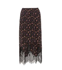 Mcq By Alexander Mcqueen Printed Silk Skirt With Lace Multicoloured
