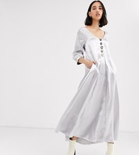 Native Youth Exclusive Volume Maxi Smock Dress In Shimmer Fabric Silver