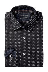 Report Collection Long Sleeve Slim Fit Stretch Floral Dot Dress Shirt Black