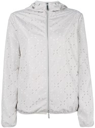 Emporio Armani Cut Out Detail Hooded Jacket Nude Neutrals