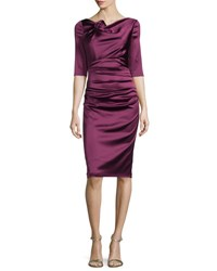 Talbot Runhof Gosling 3 4 Sleeve Ruched Satin Dress Wine
