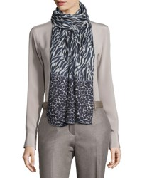 Loro Piana Serengeti Soffio Cashmere And Silk Stole Black Patterned
