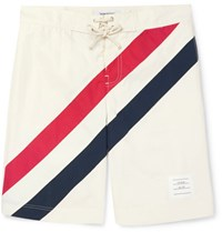 Thom Browne Long Length Striped Swim Shorts White