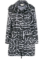 Michael Kors Collection All Over Logo Trench Coat Black