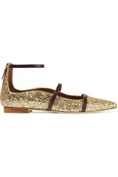 Malone Souliers Robyn Glittered Leather Pointed Toe Flats Gold