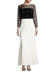 Js Collections Rosette Embroidered Illusion Gown Black Ivory