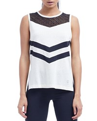 The Balance Collection Isla Side Split Tank W Contrast Insets White