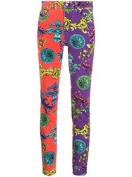 Versace Jeans Couture Baroque Print Skinny Jeans Red