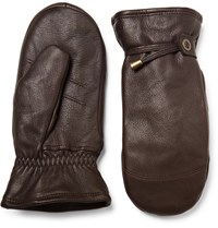 Hestra Shearling Lined Leather Mittens Brown
