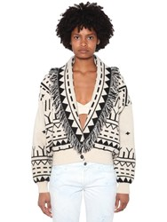 Alanui Jacquard Wool And Cashmere Cardigan White