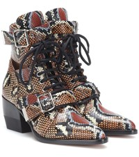 Chloe Rylee Printed Leather Ankle Boots Brown