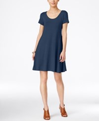 Style And Co Petite Short Sleeve A Line Dress Only At Macy's New Uniform Blue