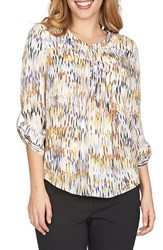Women's Chaus 'Nordic Filters' Print Roll Tab Crepe Blouse