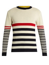 Maison Kitsune Crew Neck Striped Wool Sweater Cream Multi