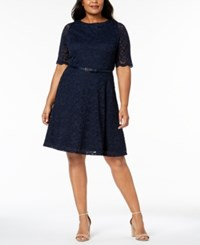 Charter Club Plus Size Belted Lace A Line Dress Created For Macy's Intrepid Blue
