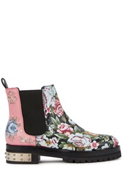 Alexander Mcqueen Floral Print Leather Chelsea Boots Multicoloured