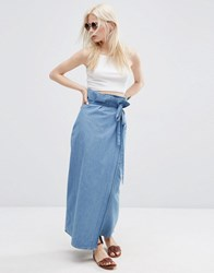 Default Asos Denim Wrap Maxi Skirt Midwash Blue