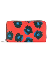 Paul Smith Ps By Floral Zip Wallet Calf Leather Red