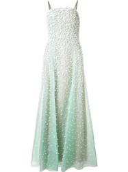 Carolina Herrera 3D Flower Embroidery Gown Green