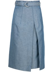 Des Pres Pleat Front Midi Skirt Blue