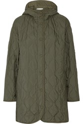 Stella Mccartney Gilda Quilted Shell Hooded Coat Green