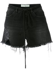 Off White Frayed Denim Shorts Black