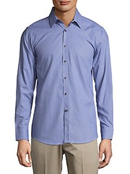 Report Collection Cotton Casual Button Down Shirt Blue