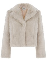 Quiz Light Stone Faux Fur Short Jacket Black
