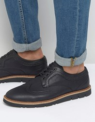 Pull And Bear Pullandbear Faux Leather Brogues With Rubber Sole In Black Black
