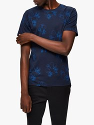 Selected Homme Short Sleeve Floral T Shirt Sky Captain