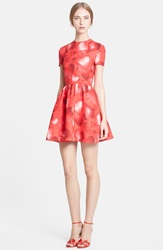 Valentino Heart Print Wool Blend Crepe Fit And Flare Dress Red Multi