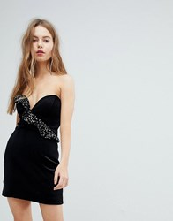 Bershka Velvet Shimmer Frill Asymmetric Dress Black