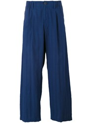 Issey Miyake Wide Legged Ribbed Trousers Men Cotton M Blue