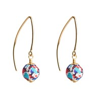 Dorus Mhor Liberty Pepper Gold Marquise Earrings White Red Blue