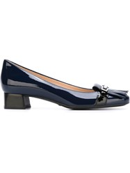 Tod's Chunky Heel Fringe And Buckle Detail Loafer Blue