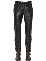 Belstaff Telford Smooth Leather Biker Pants Black