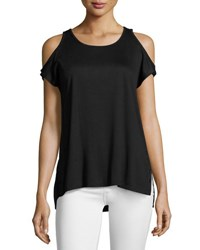 Love Scarlett Grommet Trim Cold Shoulder Top Black