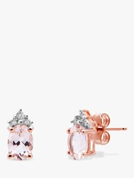 A B Davis 9Ct Rose Gold Morganite And Diamond Oval Stud Earrings Rose Gold