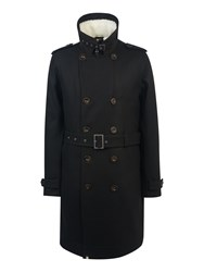 Pretty Green Men's Wool Astley Trench Black