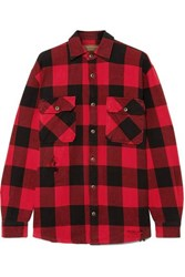 Madeworn Sutton Distressed Checked Cotton Flannel Shirt Red