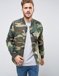 Only And Sons Bomber In Camo Olive Night Green