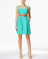 Nine West Belted Burnout Fit And Flare Dress Turqoise
