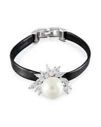 Fallon Monarch Pearly Leather Cuff Bracelet Black