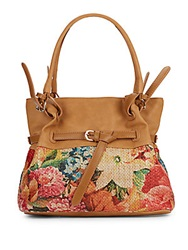 Sondra Roberts Floral Print Faux Leather Shoulder Bag