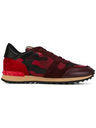 Valentino Garavani Rockrunner Sneakers Women Leather Suede Polyester Rubber 38.5 Red