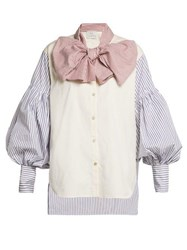 Hillier Bartley New Romantic Pinstripe Cotton Shirt Blue Multi